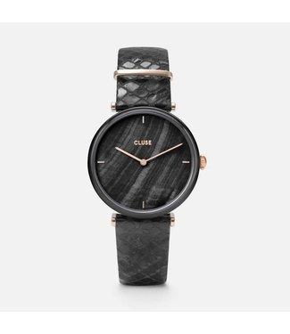 Cluse Uurwerk Triomphe leather, Black, black Pearl/black python
