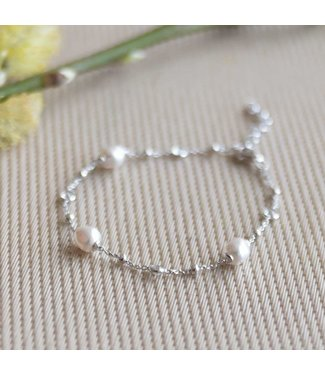 CASA Collection Armband Pruts pearl zilver AB