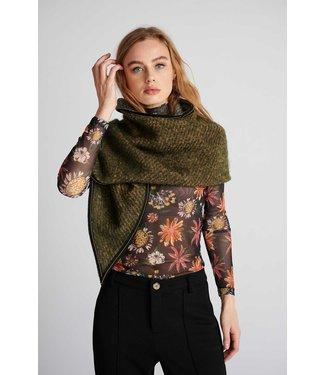 POM Amsterdam Sjaal Furry Khaki Green