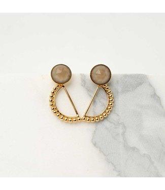 Souvenirs de Pomme Oorring Luna beige stone gold