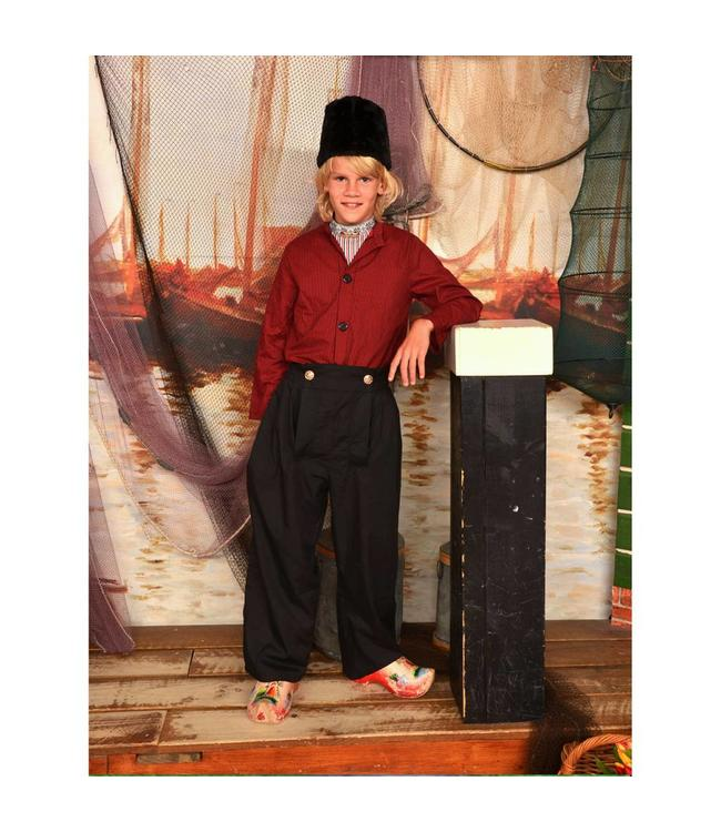 Kostuum jongen zwart/rood 10-14 jaar