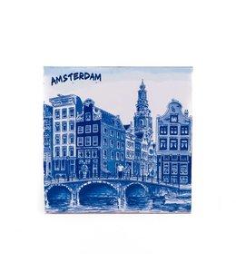 Siertegel 15 x 15 cm Delftsblauw Amsterdam