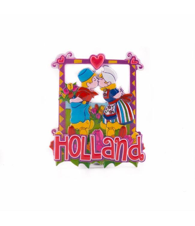 12 stuks magneet polystone kussend paartje Holland