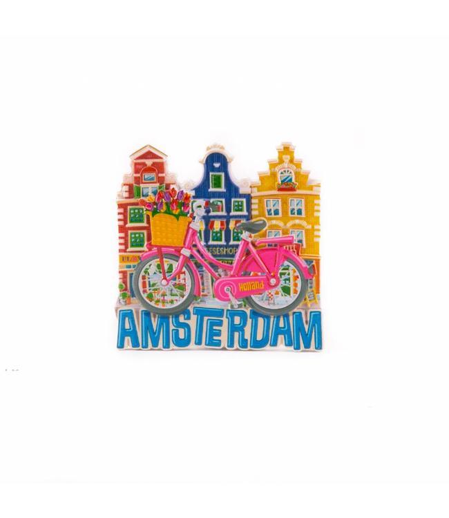 12 stuks magneet polystone roze fiets met huisjes Amsterdam