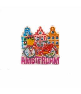 12 stuks magneet polystone rode fiets met huisjes Amsterdam