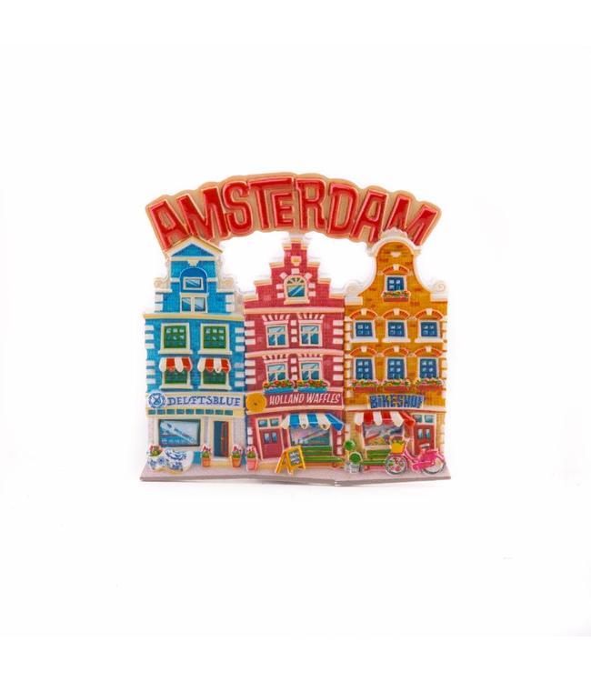 12 stuks magneet polystone 3 huisjes Amsterdam rood