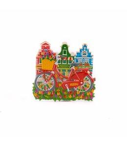 12 stuks magneet polystone rode fiets met huisjes Holland