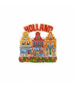 12 stuks magneet polystone 3 huisjes Holland rood