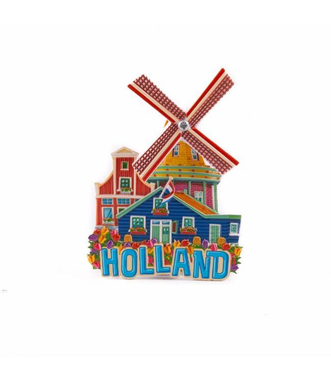 12 stuks magneet polystone molen blauw Holland