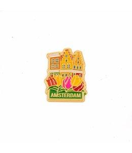 12 stuks pin huisjes Amsterdam goud