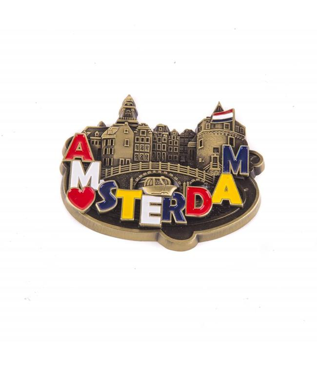 12 stuks magneet metaal hart Amsterdam brons