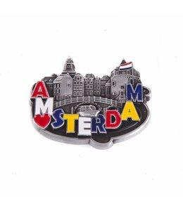 12 stuks magneet metaal hart Amsterdam tin