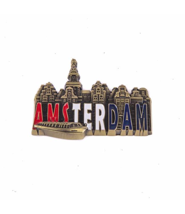 12 stuks magneet metaal RWB stadstafereel Amsterdam brons