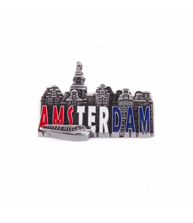 12 stuks magneet metaal RWB stadstafereel Amsterdam tin