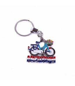 12 stuks sleutelhanger fiets geel/blauw met tulpenmand Amsterdam