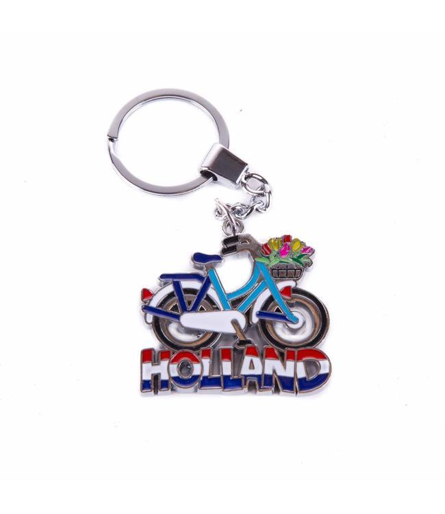 12 stuks sleutelhanger fiets blauw/wit met tulpenmand Holland