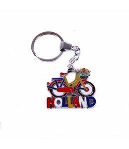 12 stuks sleutelhanger fiets rood/oranje met tulpenmand Holland