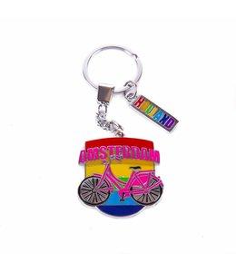 12 stuks sleutelhanger fiets regenboog vlag Amsterdam