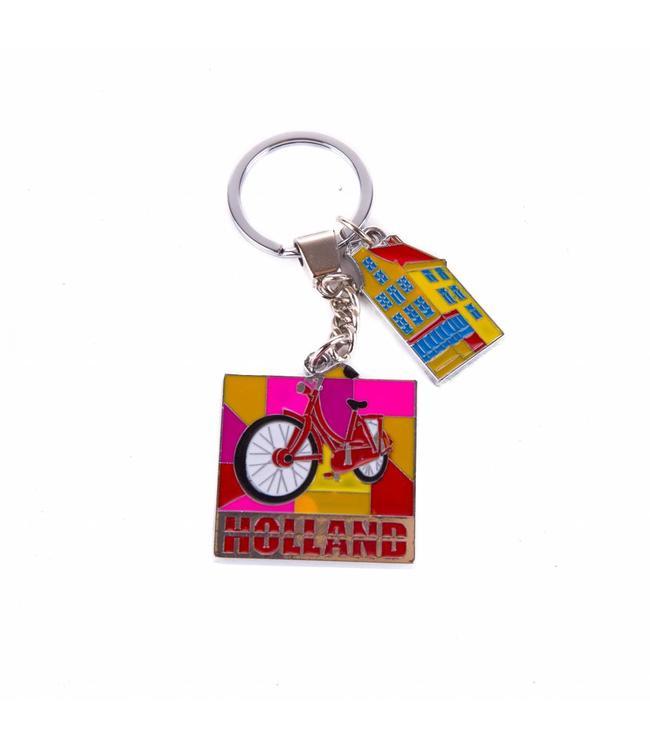 12 stuks sleutelhanger fiets met gracht bedeltje Amsterdam