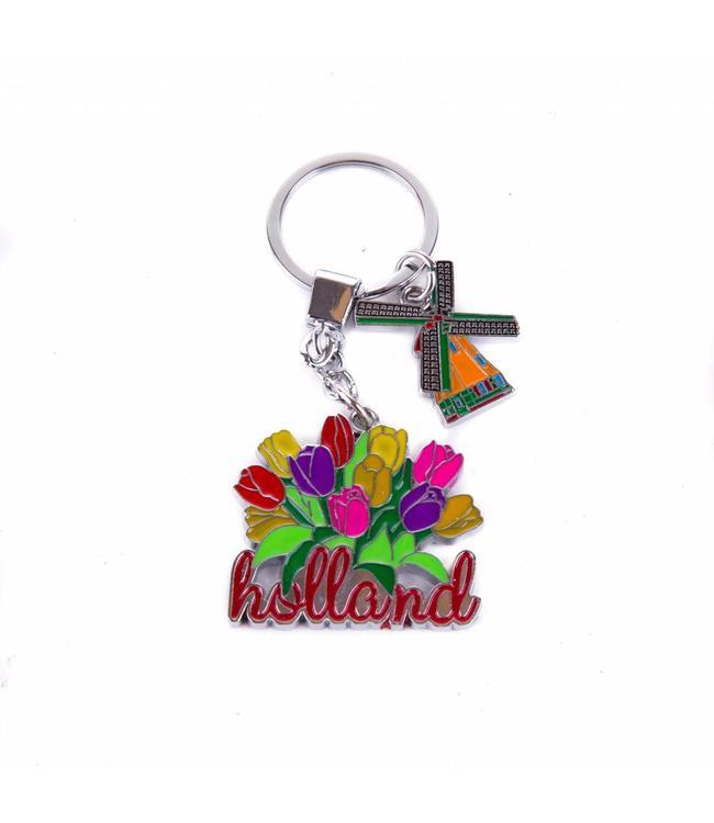 12 stuks sleutelhanger tulpenbos met molen bedeltje Holland