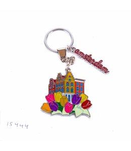 12 stuks sleutelhanger gracht met tulpen Amsterdam