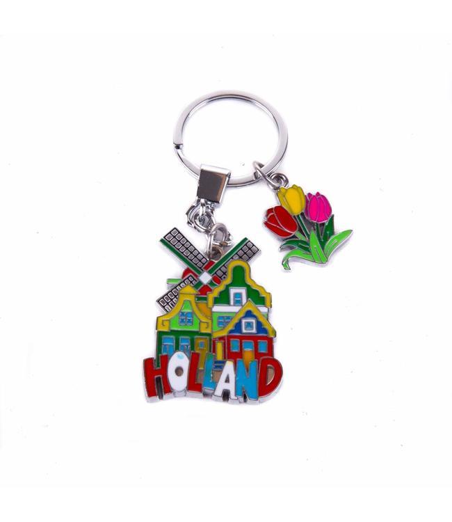 12 stuks sleutelhanger 3 huisjes met molen en tulp bedeltje Holland