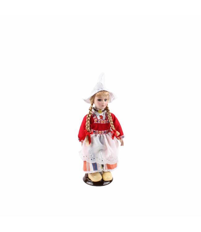 Pop porselein vrouw rood 20 cm