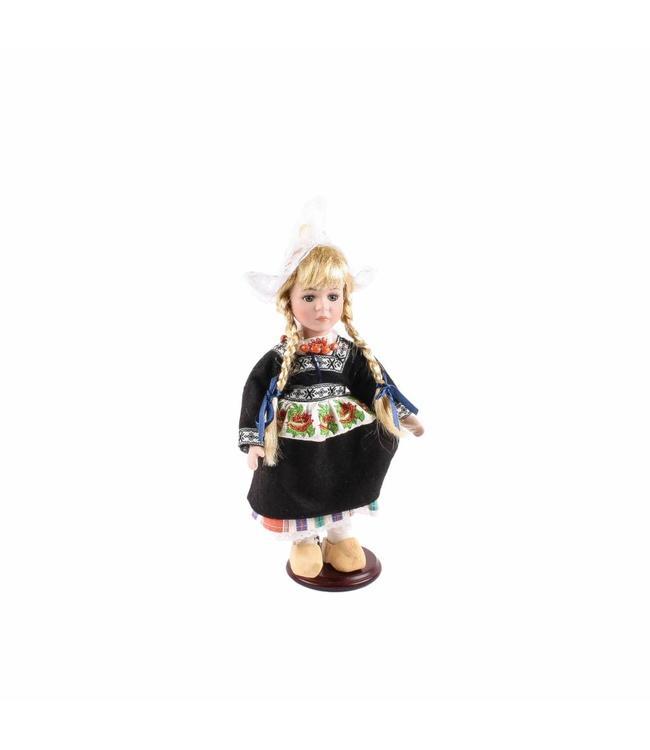 Pop porselein vrouw boezel zwart 26 cm