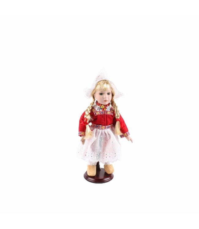 Pop porselein vrouw rood 26 cm