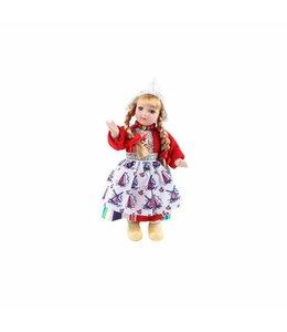 Pop porselein vrouw rood 17 cm