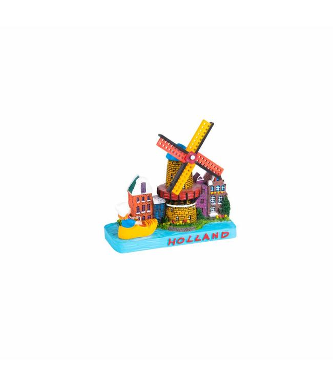 Tafereel molen/tulpen/klomp Holland