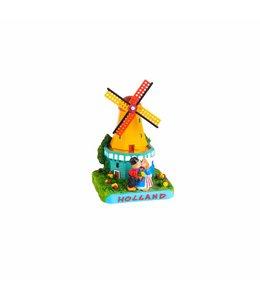 Tafereel 12 cm molen met kuspaar Holland