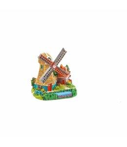6 stuks Miniatuur 3D poldermolen grijs Holland 5cm