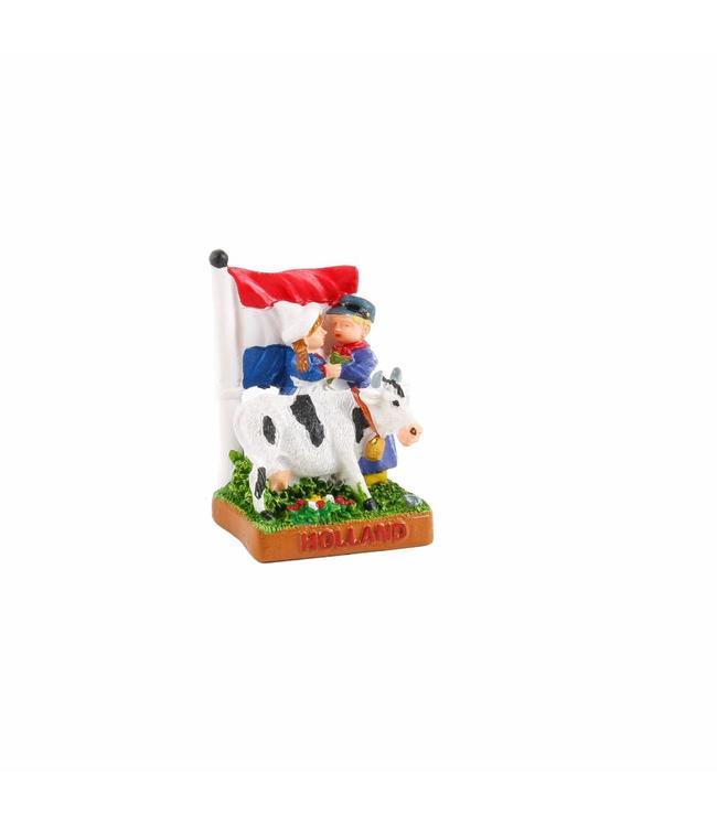6 stuks Miniatuur 3D koe met paartje Holland 5 cm