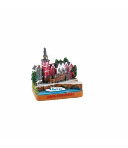 6 stuks Miniatuur 3D Oude Kerkplein Amsterdam 5 cm