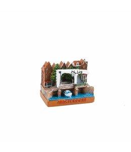 6 stuks Miniatuur 3D ophaalbrug Amsterdam 5 cm
