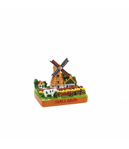 6 stuks Miniatuur 3D molen in tulpenveld Holland 5 cm