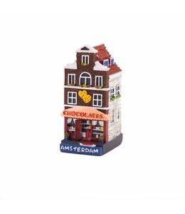 4 stuks polystone huisje Chocolate shop Amsterdam