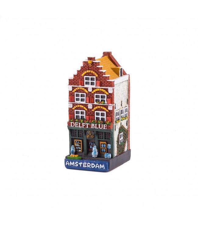 4 stuks polystone huisje Delftblue shop Amsterdam