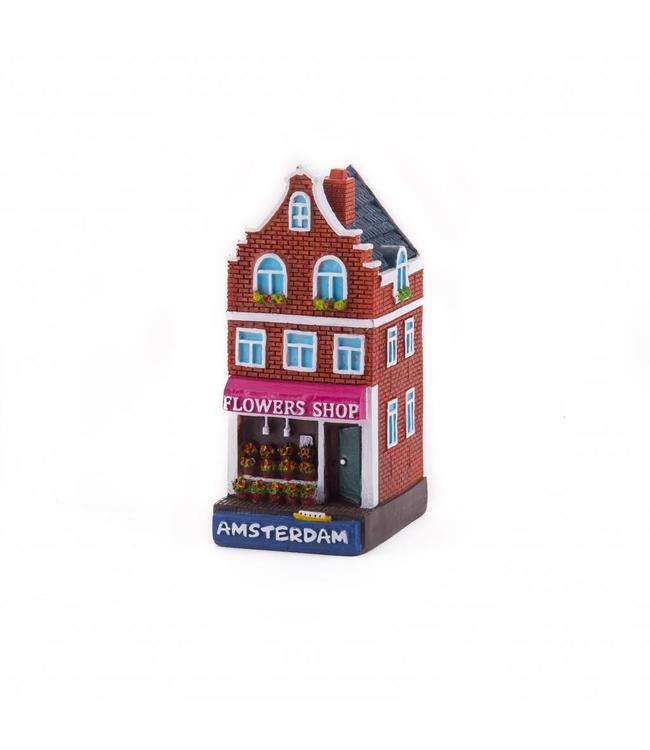 4 stuks polystone huisje Flower shop Amsterdam