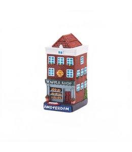 4 stuks polystone huisje Waffle shop Amsterdam