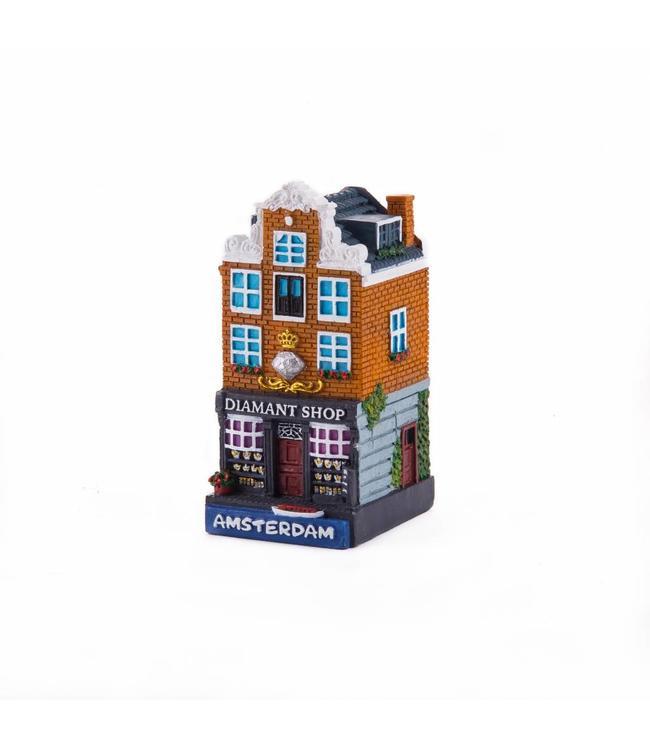 4 stuks polystone huisje Diamond shop Amsterdam