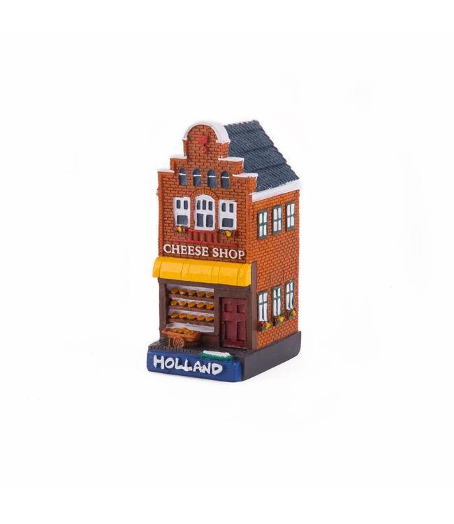 4 stuks polystone huisje Cheese shop Holland