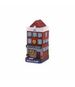 4 stuks polystone huisje Waffle shop Holland