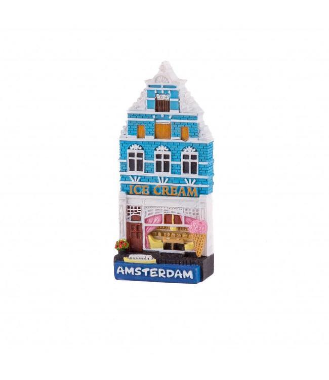 12 stuks magneet polystone huisje Ice cream shop Amsterdam