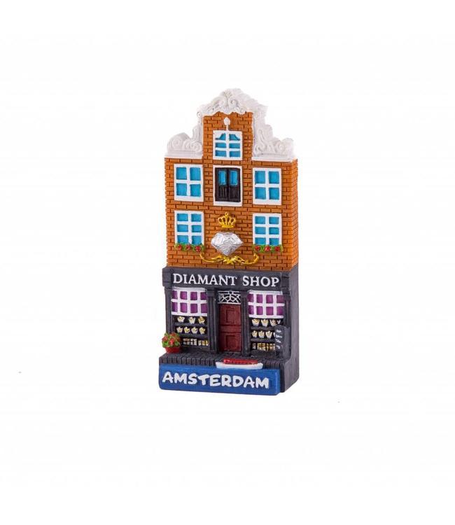 12 stuks magneet polystone huisje Diamond shop Amsterdam
