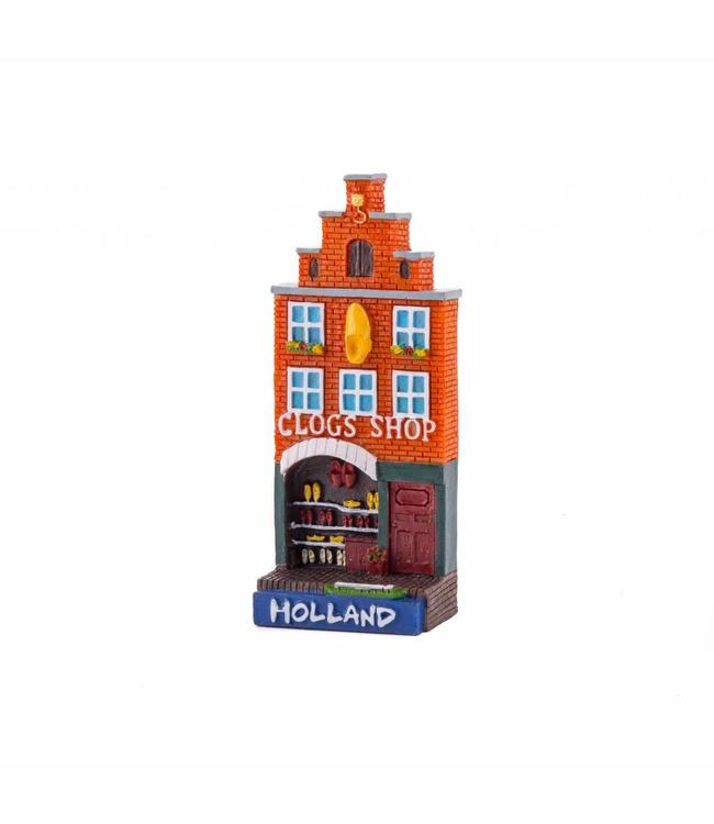 12 stuks magneet polystone huisje Clog shop Holland