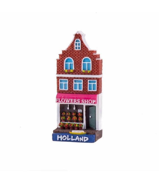 12 stuks magneet polystone huisje Flower shop Holland