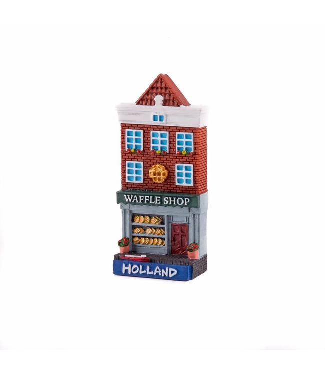 12 stuks magneet polystone huisje Waffle shop Holland