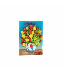 12 stuks Magneet tulpen in vaas blauw